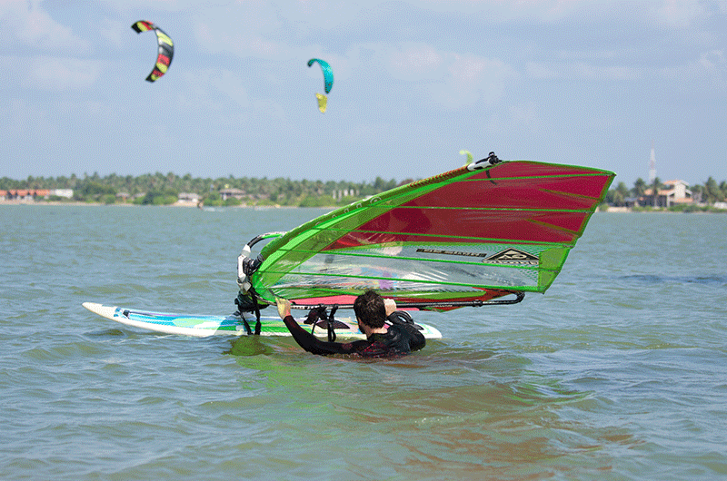 waterstart windsurfing in sri lanka