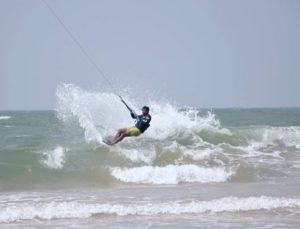 Sri Lankan waterman Upul De Silva wave kitesurfing