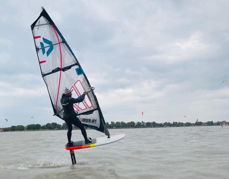 Sri Lankan waterman Upul De Silva Foil Windsurfing