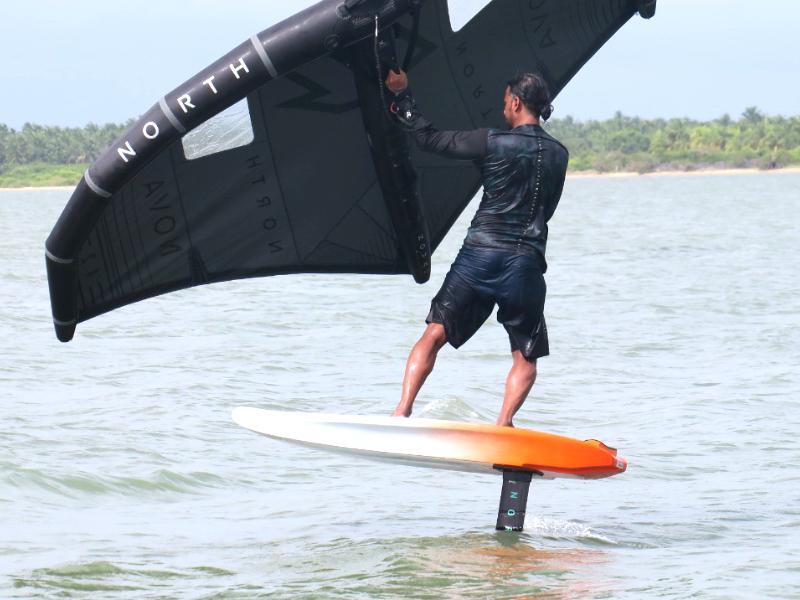 Foil wingsurfing at Kalpitiya Lagoon in Sri Lanka